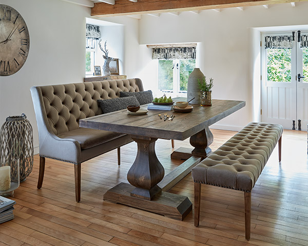 Burnsall Reclaimed Wood 200cm Dining Table & 2 Jacob Taupe Benches