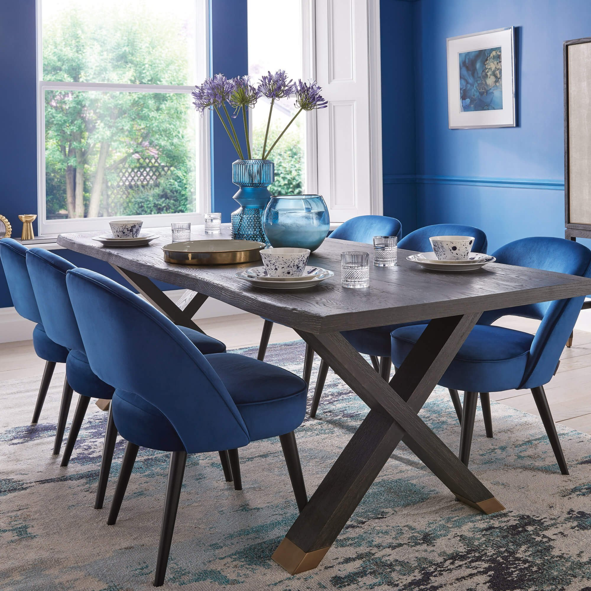 Housing Units - Dining Table and Blue Velvet Chairs