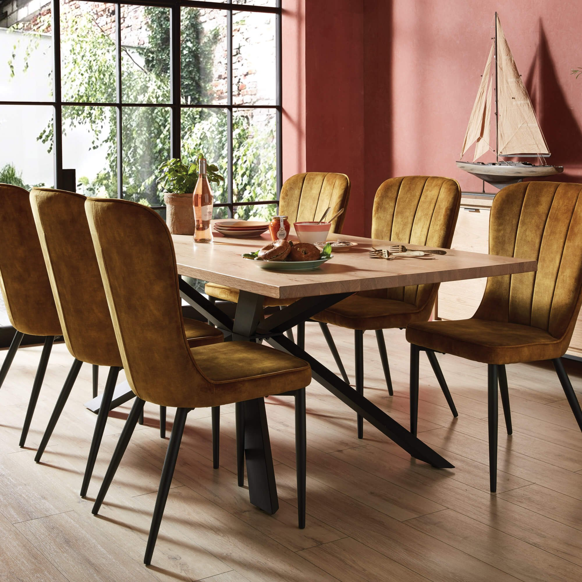 Housing Units- Dining Table and Yellow Chairs
