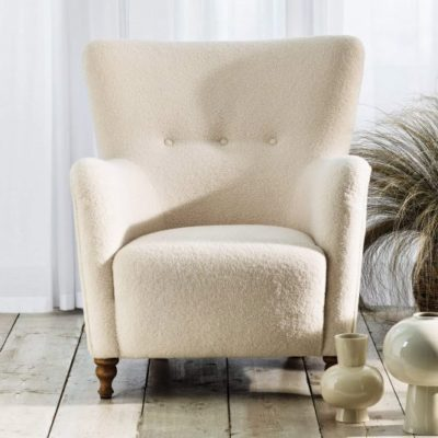 Perry Ivory Fabric Armchair- housing units